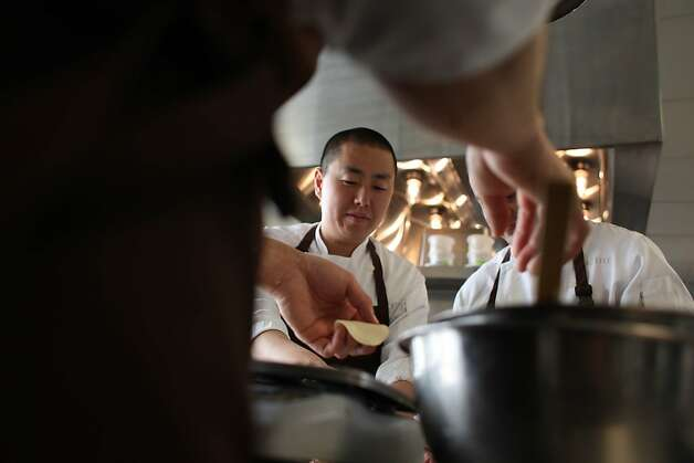 benu owner and chef Corey Lee makes foie gras xiao long bao in the kitchen at his restaurant, benu, in San Francisco, Calif., Friday, May 6, 2011. Photo: Lea Suzuki, The Chronicle
