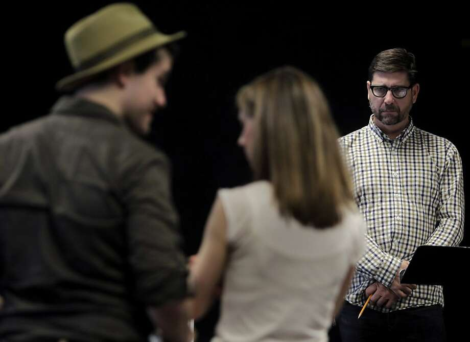 """Mark Rucker (right) directs actors Patrick Lane and Julia Coffey while rehearsing a scene for the upcoming ACT production, """"Once in a Lifetime"""", in San Francisco, Calif. on Wednesday, Sept. 7, 2011. Photo: Paul Chinn, The Chronicle"""
