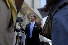 Attorneys Frank Pitre, who is representing the plaintiffs in the  San Bruno lawsuit against PG&E speak to the media outside the Redwood County Courthouse, Thursday September 22, 2011, in Redwood City, Calif. The judge in the case has set a trial date in July of next year.
