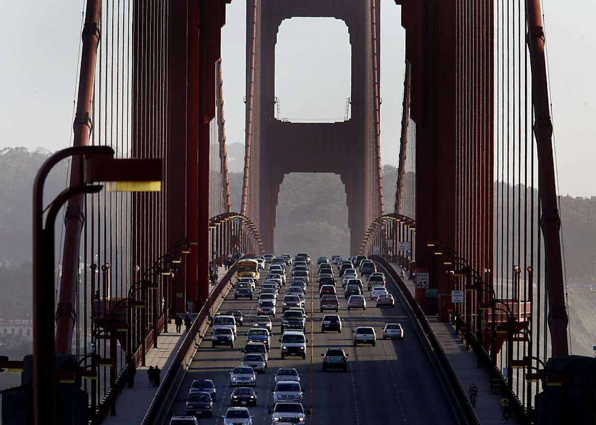 Commute traffic across the Golden Gate Bridge is rarely backed up. Traffic around the Bay Area has gotten a tiny bit better according to a new report Wednesday January 19, 2011, perhaps because of the cost of gasoline and unemployment.