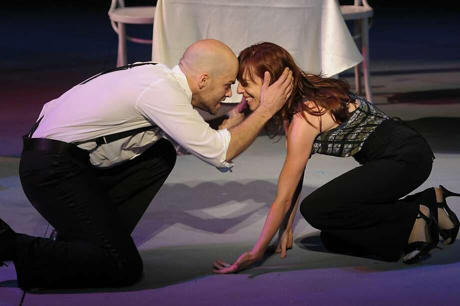 """""""Why, there's a wench! Come and kiss me, Kate"""" says  Petruchio (Slate Holmgren) to Kate (Erica Sullivan) in California Shakespeare Theater's new version of """"The Taming of the Shrew"""" Photo: Kevin Berne"""