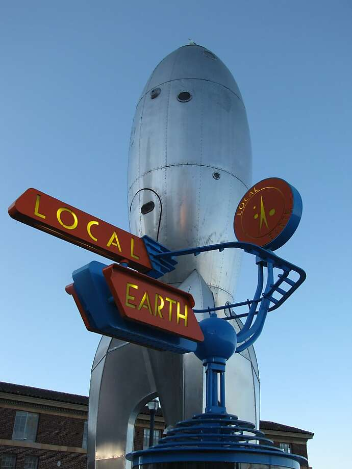 Raygun Gothic Rocketship, on loan to the city by the artists through the Black Rock Arts Foundation, is one of the most inventive pieces of public art in the city, an unexpected counterpoint to the Bay and Embarcadero. Photo: John King