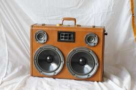 Paul Dillinger's Custom Boomcase portable suitcase stereo system  is seen in his San Francisco, Calif., home on Friday, Sep. 16, 2011.