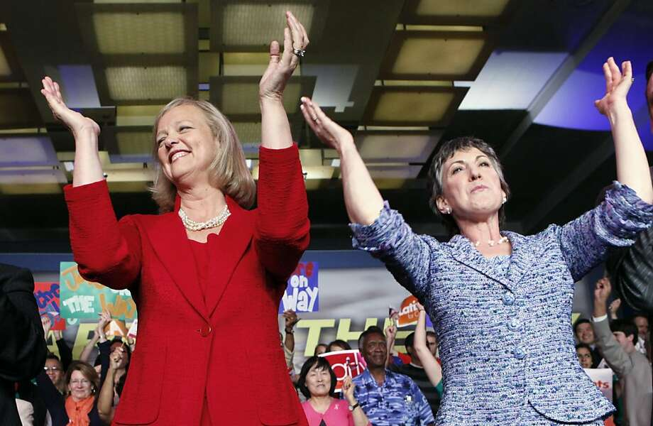 Meg Whitman, left, winner of the Republican nomination for governor of California, and Carly Fiorina, the GOP nominee for the U.S. Senate from California, celebrate at a post-primary election celebration in Anaheim, Calif.,Wednesday, June 9, 2010.  U.S. Sen. Barbara Boxer says she is used to tough campaigns, so Carly Fiorina won't represent an exception on that front. Still, Fiorina has some things going for her that make her particularly formidable: money, the ability to run as a political outsider and a fired-up conservative base.  (AP Photo/Reed Saxon)    Ran on: 06-13-2010 Meg Whitman (left), the GOP nominee for California governor, and Carly Fiorina, her counterpart in the U.S. Senate race, celebrate their primary victories in Anaheim on Wednesday. Photo: Reed Saxon, AP