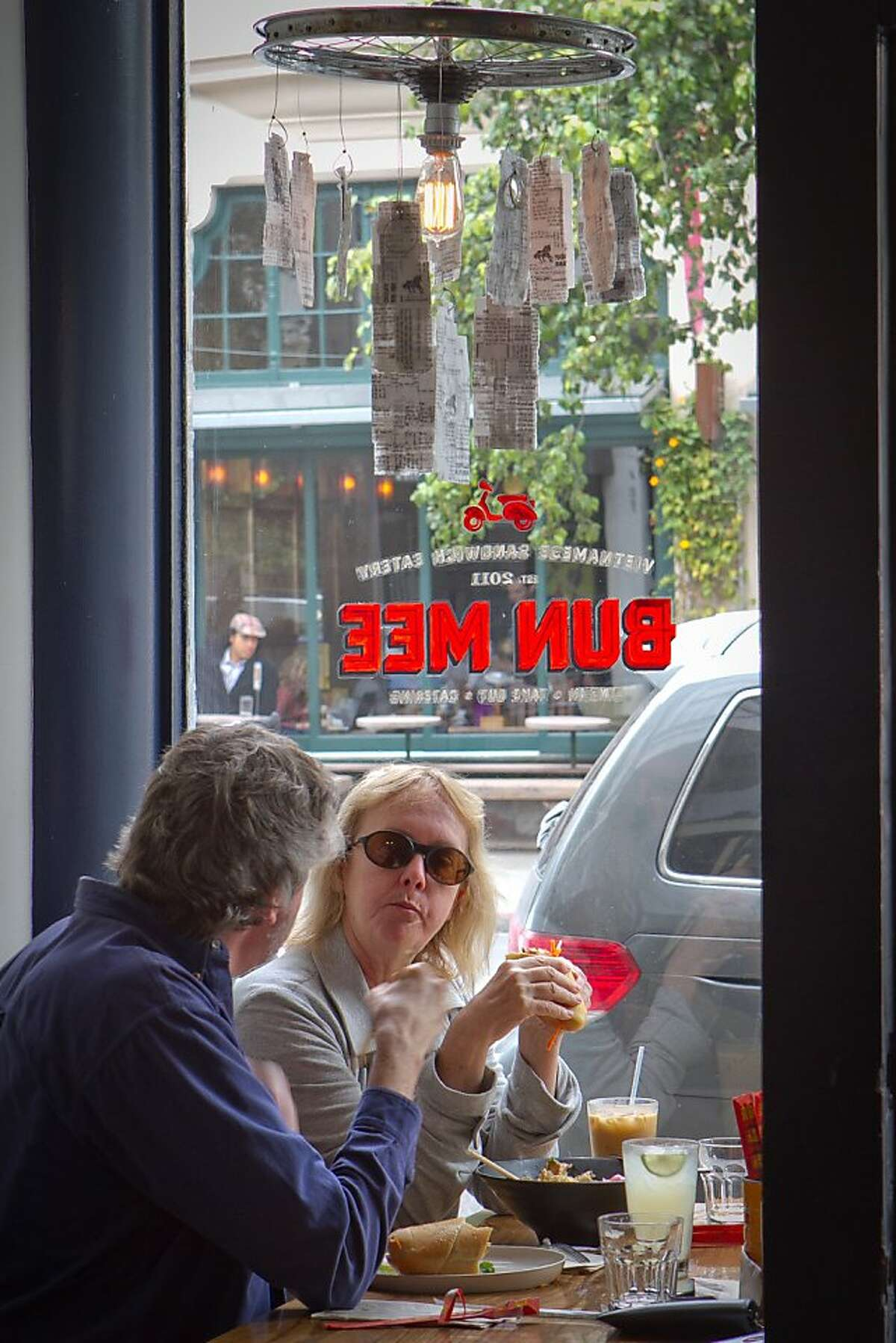 Diners enjoy lunch at Bun Mee restaurant in San Francisco, Calif., on September 15th, 2011.