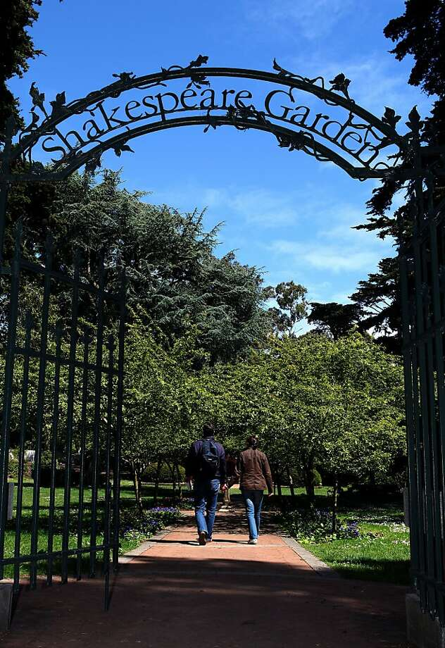 The entrance to Shakespeare Garden at Golden Gate Park in San Francisco, Calif., on Monday, May 24, 2010.    Ran on: 06-27-2010 Photo caption Dummy text goes here. Dummy text goes here. Dummy text goes here. Dummy text goes here. Dummy text goes here. Dummy text goes here. Dummy text goes here. Dummy text goes here.###Photo: park27_PH61274572800SFC###Live Caption:The entrance to Shakespeare Garden at Golden Gate Park in San Francisco, Calif., on Monday, May 24, 2010.###Caption History:The entrance to Shakespeare Garden at Golden Gate Park in San Francisco, Calif., on Monday, May 24, 2010.###Notes:SF Chronicle-Liz Hafalia   _**  CQ###Special Instructions:**MANDATORY CREDIT FOR PHOTOG AND SF CHRONICLE-NO SALES-MAGS OUT-TV OUT-INTERNET: AP MEMBER NEWSPAPERS ONLY** Photo: Liz Hafalia, The Chronicle