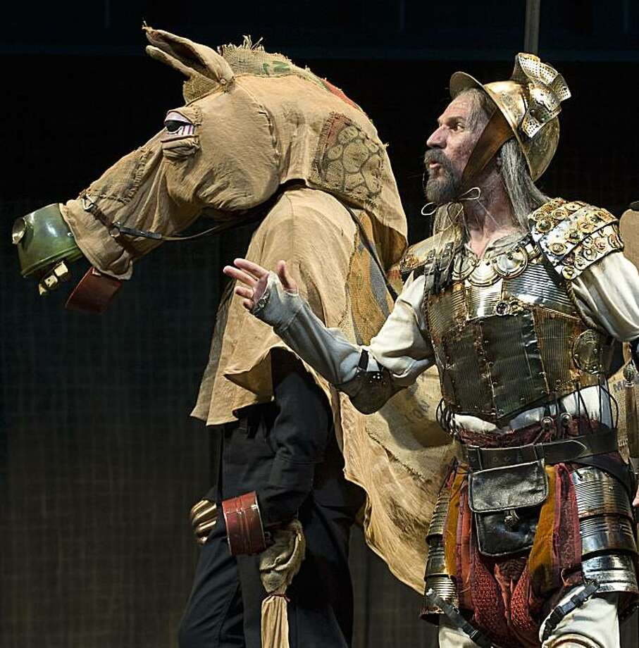 Ashland Shakespeare Festival Don Quixote (Armando Durán) and his horse Rocinante (James Jesse Peck).  David Cooper Photography 2009 [#Beginning of Shooting Data Section] Nikon D3 2009/05/27 20:54:50.32 World Time: UTC-8, DST:OFF Lossless Compressed RAW (14-bit) Image Size: L (4256 x 2832), FX Lens: VR 70-200mm F/2.8G Artist:                                      Copyright:                                                        Focal Length: 105mm Exposure Mode: Manual Metering: Spot Shutter Speed: 1/200s Aperture: F/3.5 Exposure Comp.: -0.3EV Exposure Tuning: ISO Sensitivity: ISO 1600 Optimize Image: White Balance: Auto, 0, 0 Focus Mode: AF-S AF-Area Mode: Auto AF Fine Tune: OFF VR: OFF Long Exposure NR: OFF High ISO NR: OFF Color Mode: Color Space: Adobe RGB Tone Comp.: Hue Adjustment: Saturation: Sharpening: Active D-Lighting: OFF Vignette Control: Normal Picture Control: [NL] NEUTRAL Base: Quick Adjust: - Sharpening: 2 Contrast: 0 Brightness: 0 Saturation: 0 Hue: 0 Filter Effects: Toning: Flash Mode:   Flash Exposure Comp.:   Flash Sync Mode:   Colored Gel Filter: Map Datum: Image Authentication: OFF Dust Removal: Image Comment:                                      [#End of Shooting Data Section] Photo: David Cooper