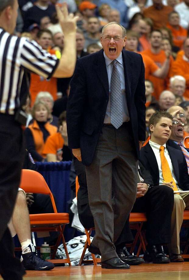 Syracuse head coach Jim Boeheim reacts to the official's call  during the first half against Villanova in an NCAA college basketball game in Syracuse, N.Y., Sunday, Feb. 22, 2009. (AP Photo/Kevin Rivoli) Ran on: 03-06-2009 Jim Boeheim might have his moments where he goes on a tirade, but he's referred to as a great communicator. Photo: Kevin Rivoli, AP