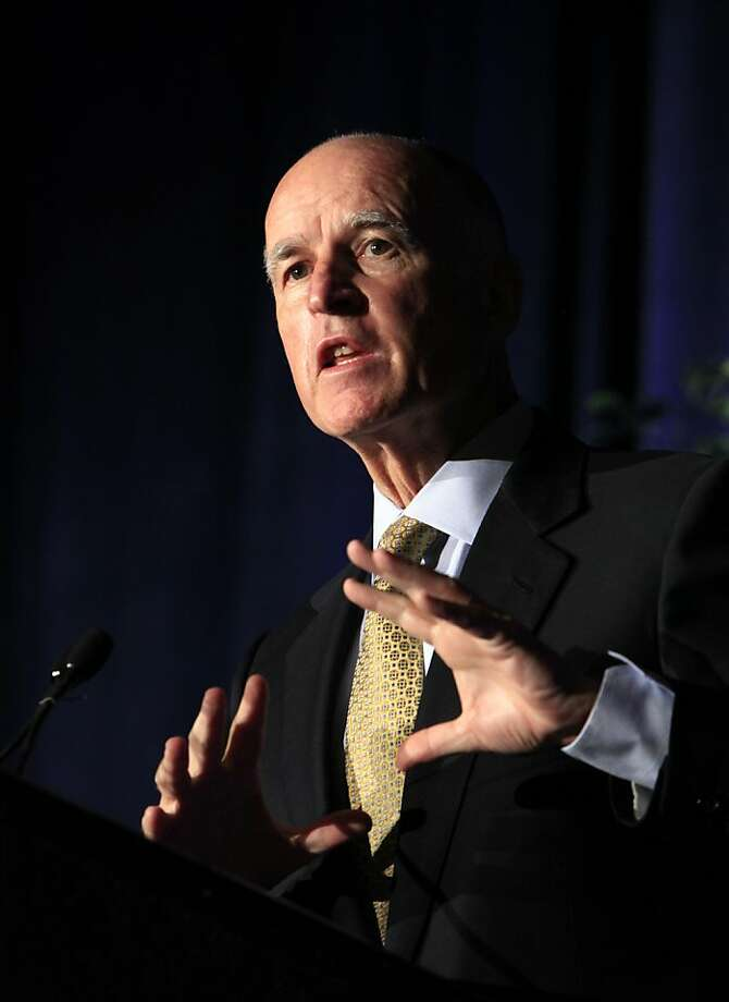Gov. Jerry Brown discusses his plan to redirect thousands of lower-lever criminals from state prison to county jails while speaking before  law enforcement officials in Sacramento,  Calif., , Wednesday, Sept, 21, 2011.  Brown told the nearly 500 sheriffs, prosecutors, police chiefs and probation officers, that the shift is a bold step and one that is long overtime, and  promises to seek a constitutional amendment guaranteeing them the money to handle the increased inmate load. (AP Photo/Rich Pedroncelli)  Ran on: 09-25-2011 Gov. Jerry Brown has promised to veto many of the bills he sees. Ran on: 09-25-2011 Gov. Jerry Brown has promised to veto many of the bills he sees. Photo: Rich Pedroncelli, AP