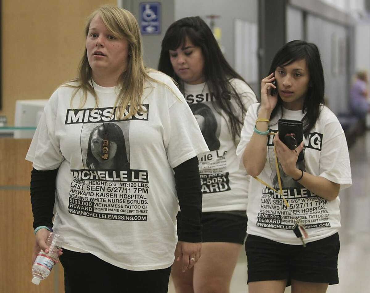 Friends of missing nursing student Michelle Le, Shelby Sherry (left), Tamara Contreras (center) and Ysabella Malig (right) arrive at the Alameda County Superior Courthouse in Hayward, Calif. on Thursday, Sept. 8, 2011, before arraignment proceedings for murder suspect Giselle Esteban were postponed because of a medical issue. Estaban is accused of murdering Michelle Le back in May, who's body has not been recovered.