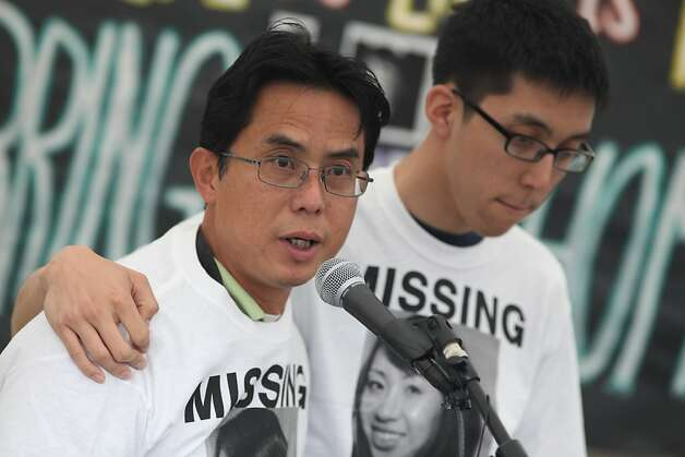 Son Le and Michael Le the father and brother of missing nursing student Michelle Le speak to the crowd during a vigil held at Ponderosa Court where Le's car was found in Hayward, Calif. on Friday, June 3, 2011.    Kat Wade / Special to the Chronicle Photo: Kat Wade, Special To The Chronicle