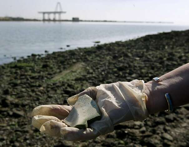A volunteer holds a broken dish that she recovered from the shoreline of the bay near Hunter's Point in San Francisco, Calif. on Saturday, Sept. 17, 2011. Photo: Paul Chinn, The Chronicle