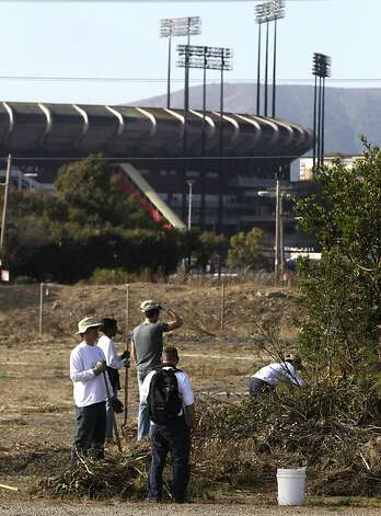 Volunteers pick up trash and debris from an area near Candlestick Park during an annual coastal cleanup in San Francisco, Calif. on Saturday, Sept. 17, 2011. Photo: Paul Chinn, The Chronicle