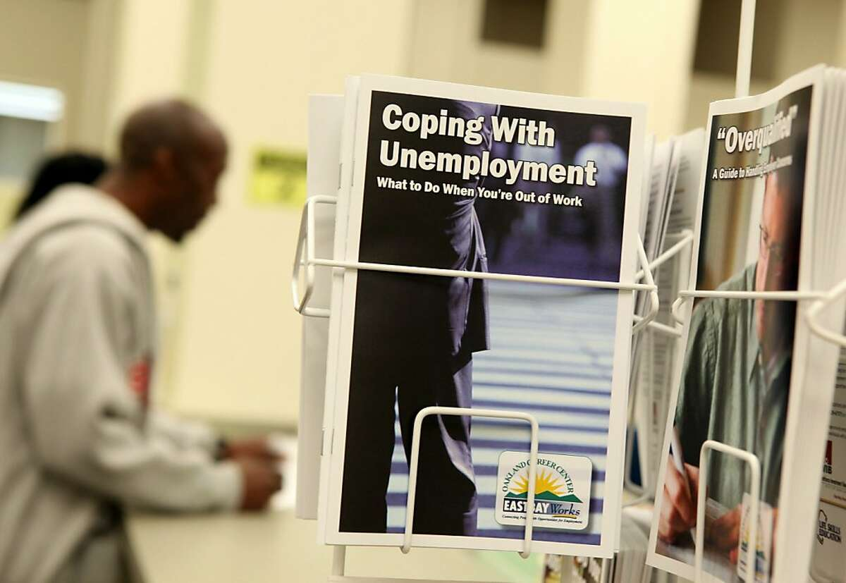 OAKLAND, CA - AUGUST 05: Pamphlets with information about unemployment are displayed at Eastbay Works Oakland One-Stop Career Center August 5, 2010 in Oakland, California. U.S. jobless claims unexpectedly rose by 19,000 new claims for the week ending on July 31. (Photo by Justin Sullivan/Getty Images) Ran on: 08-08-2010 Pamphlets are offered at a job center in Oakland. Candidates for governor and senator are pushing job creation plans to address unemployment in the state.