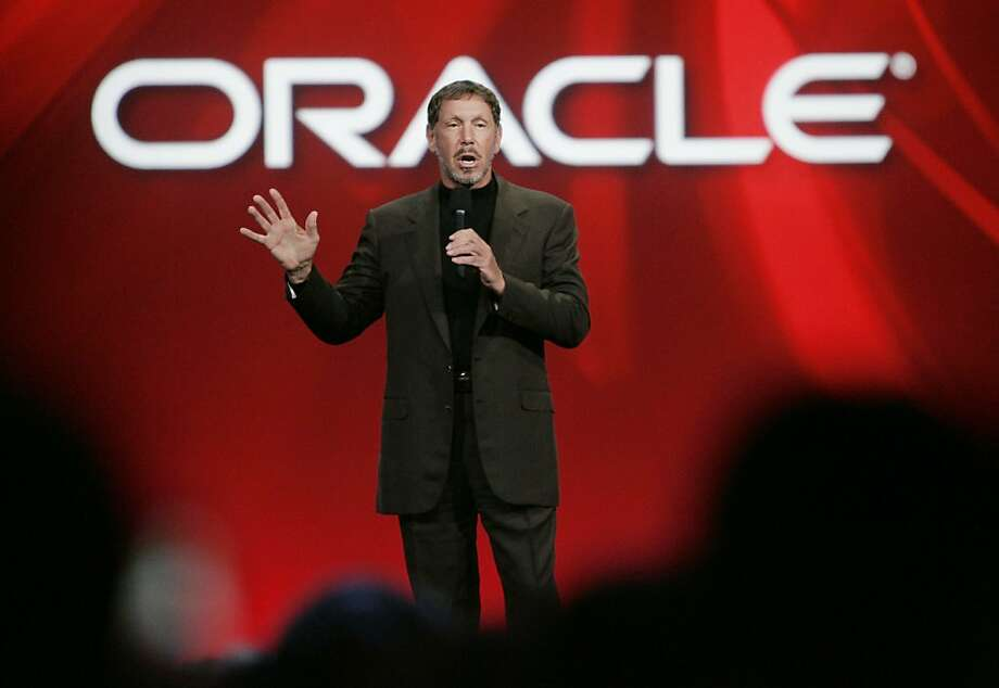 FILE - In this Sept. 24, 2008 file photo, Oracle CEO Larry Ellison gestures at the Oracle Open World conference in San Francisco. Oracle Corp. on Monday, April 20, 2009 snapped up computer server and software maker Sun Microsystems Inc. for $7.4 billion, pouncing on an opportunity that opened up after rival IBM Corp. abandoned an earlier bid to buy one of Silicon Valley's best known, and most troubled companies. (AP Photo/Paul Sakuma, file) Ran on: 04-21-2009 Oracle CEO Larry Ellison calls Sun Microsystems' Java &quo;the single most important software asset we have ever acquired.&quo; Ran on: 04-21-2009 Oracle CEO Larry Ellison calls Sun Microsystems' Java &quo;the single most important software asset we have ever acquired.&quo; Photo: Paul Sakuma, AP