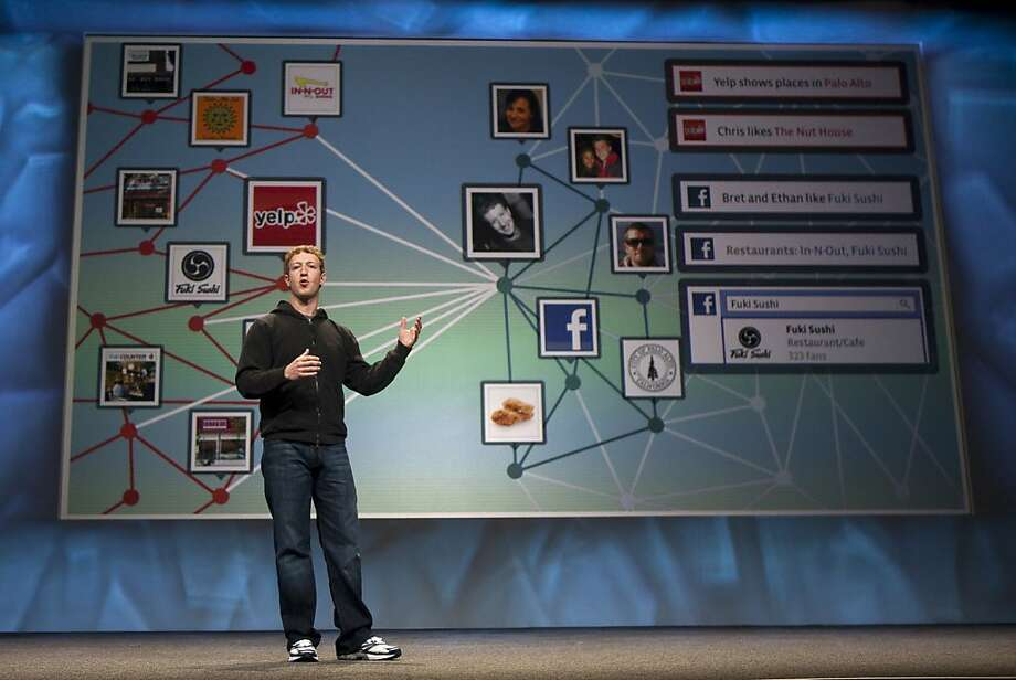 Mark Zuckerberg, founder and chief executive officer of Facebook Inc., gives a keynote address at the annual F8 developer conference in San Francisco, California, U.S., on Wednesday, April 21, 2010. Zuckerberg said he isn't counting on making money from the company's Facebook Credits online currency any time soon, even as he pumps resources into the project. Photographer: Kim White/Bloomberg *** Local Caption *** Mark Zuckerberg Mark Zuckerberg, founder and chief executive officer of Facebook Inc., gives a keynote address at the annual F8 developer conference in San Francisco, California, U.S., on Wednesday, April 21, 2010. Zuckerberg said he isn't counting on making money from the company's Facebook Credits online currency any time soon, even as he pumps resources into the project. Photographer: Kim White/Bloomberg *** Local Caption *** Mark Zuckerberg  Ran on: 09-22-2011 Facebook founder and CEO Mark Zuckerberg, speaking at last year's F8 developer's conference, is expected to announce at least a couple of new features when he addresses developers today. Photo: Kim White, Bloomberg