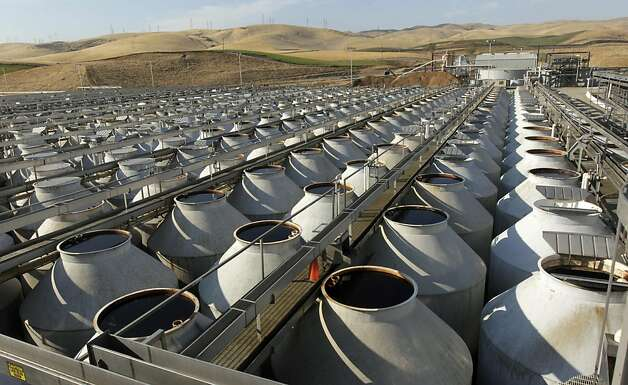 Olives are stored in hundreds giant storage tanks at the Musco Family Olive Co. plant in Tracy, Calif. on Tuesday, Sept. 13, 2011. Photo: Paul Chinn, The Chronicle