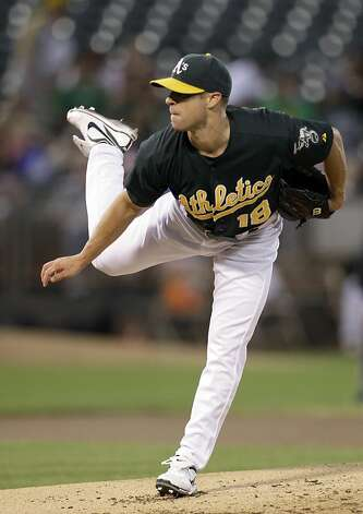 Oakland Athletics' Rich Harden works against the Texas Rangers in the first inning of a baseball game Tuesday, Sept. 20, 2011, in Oakland, Calif. (AP Photo/Ben Margot) Photo: Ben Margot, AP