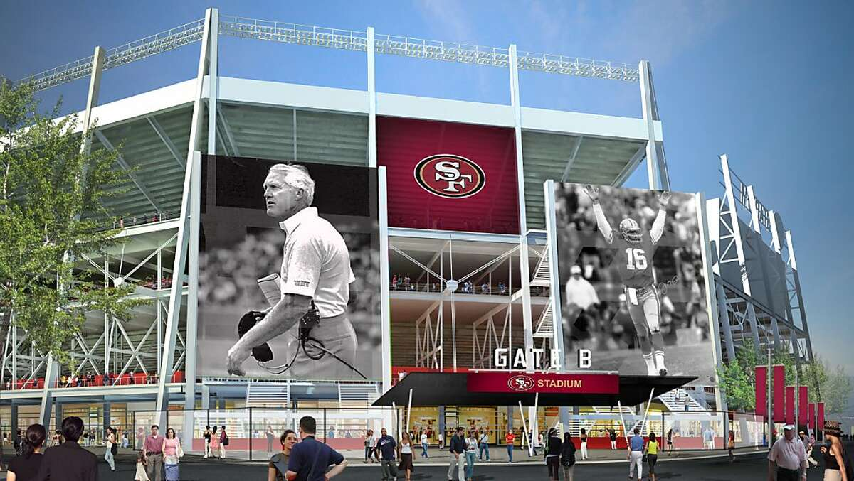 Artist's renderings illustrate the NorthEast entrance of the proposed new stadium for the San Francisco 49ers in Santa Clara, Calif. on Wednesday, August 3, 2011. Ran on: 08-04-2011 An artist's rendering shows what the northeast entrance of the stadium would look like. The team wants to build it next to California's Great America. Ran on: 08-04-2011 An artist's rendering shows what the northeast entrance of the stadium would look like. The team wants to build it next to California's Great America.