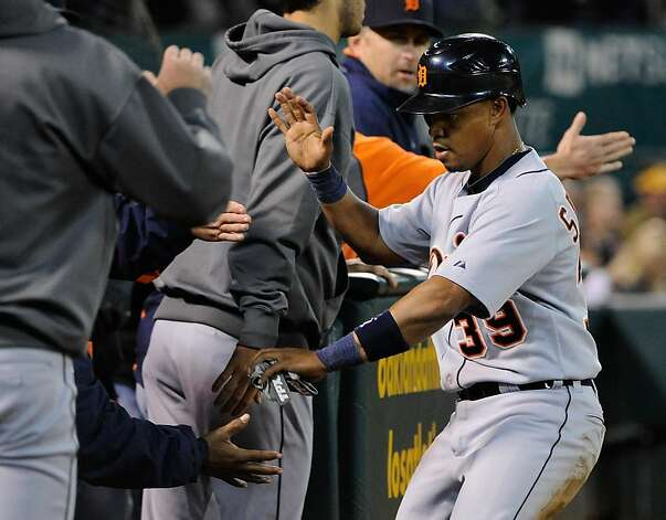 OAKLAND, CA - SEPTEMBER 16: Ramon Santiago #39 of the Detroit Tigers celebrates after scoring on an RBI single against the Oakland Athletics in the third inning during an MLB Baseball game at O.co Coliseum on September 16, 2011 in Oakland, California.  (Photo by Thearon W. Henderson/Getty Images) Photo: Thearon W. Henderson, Getty Images