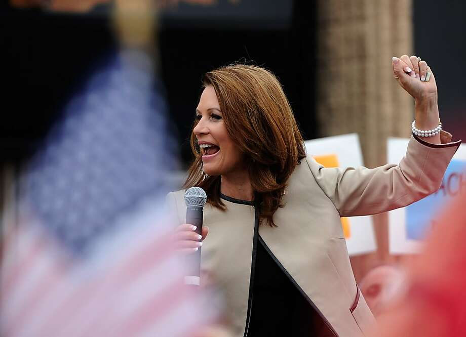 "COSTA MESA, CA - SEPTEMBER 16:  Republican presidential candidate Rep. Michele Bachmann (R-MN) speaks during a rally at the Orange County Fairgrounds on September 16, 2011 in Costa Mesa, California. Bachmann will appear on ""The Tonight Show with Jay Leno"" and speak tonight at California Republican Party Convention banquet. The three-day California Republican Party 2011 Fall Convention will begin today in downtown Los Angeles.  (Photo by Kevork Djansezian/Getty Images) Photo: Kevork Djansezian, Getty Images"