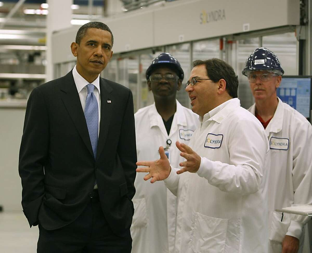 President Obama tours the Solyndra solar panel company with Solyndra executive vice president Ben Bierman in Fremont, Calif., on Wednesday, May 26, 2010.
