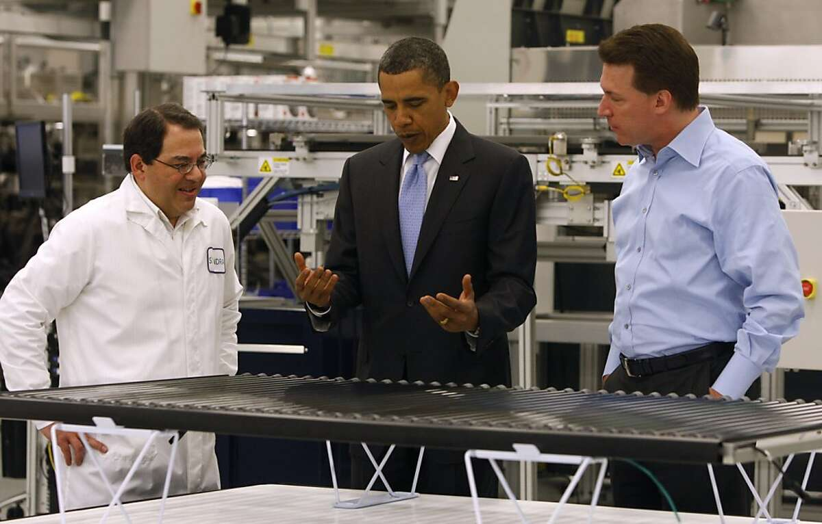 President Obama tours the Solyndra solar panel company in Fremont, Calif., on Wednesday, May 26, 2010. Ran on: 09-04-2011 President Obama tours Solyndra last year with executives Ben Bierman (left) and Chris Gronet.