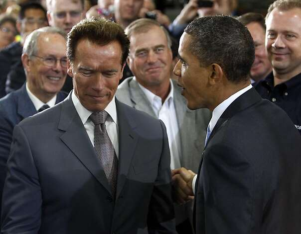 Gov. Arnold Schwarzenegger chats with President Obama after Obama's tour and speech at the Solyndra solar panel company in Fremont, Calif., on Wednesday, May 26, 2010.   Ran on: 05-27-2010 Gov. Arnold Schwarzenegger thanks President Obama for highlighting the Solyndra solar panel company's efforts during their visit to the Fremont plant. President Obama and Gov. Arnold Schwarzenegger discuss border security and immigration reform while visiting the Solyndra solar panel plant in Fremont.    Ran on: 05-27-2010 Gov. Arnold Schwarzenegger thanks President Obama for highlighting the Solyndra solar panel company's efforts during their visit to the Fremont plant. President Obama and Gov. Arnold Schwarzenegger discuss border security and immigration reform while visiting the Solyndra solar panel plant in Fremont.    Photo: Paul Chinn, The Chronicle