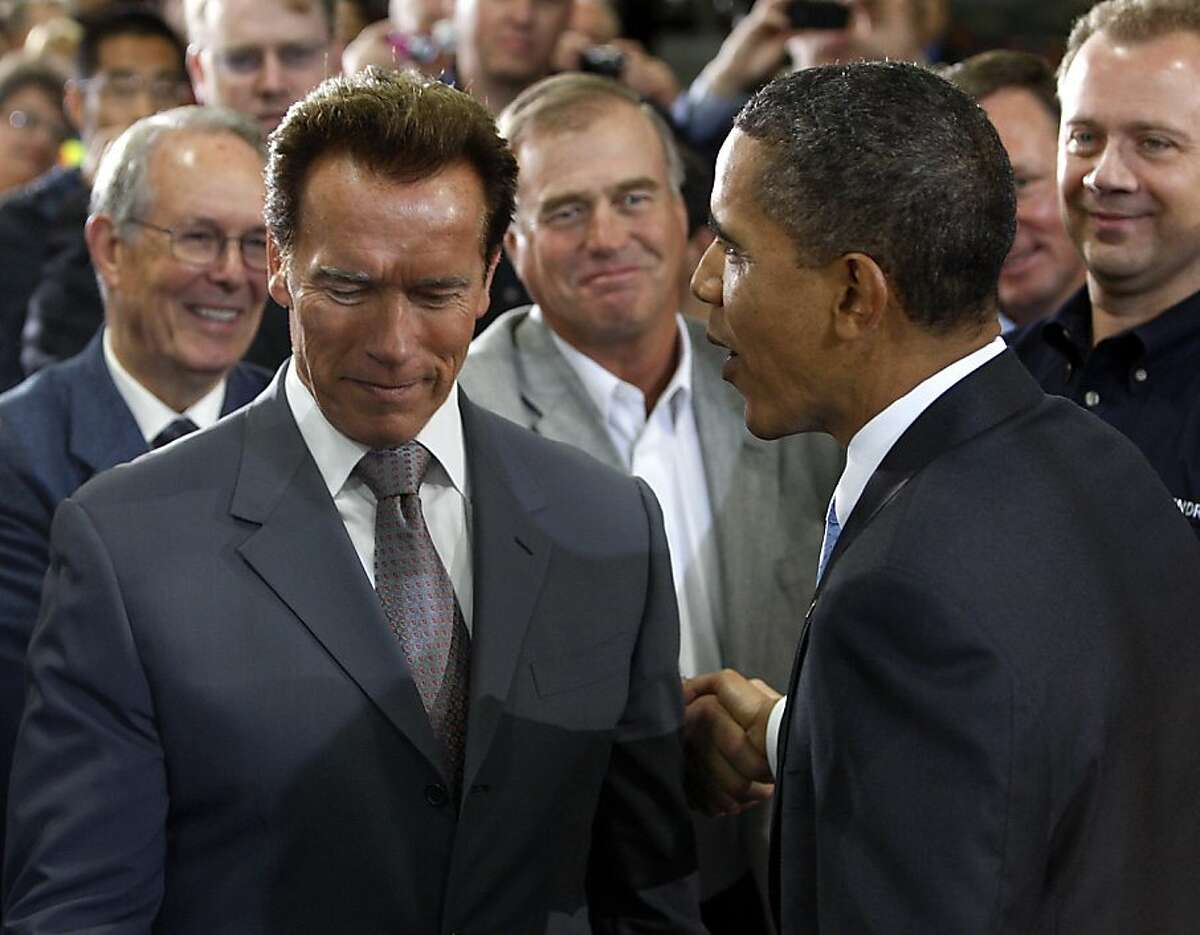 Gov. Arnold Schwarzenegger chats with President Obama after Obama's tour and speech at the Solyndra solar panel company in Fremont, Calif., on Wednesday, May 26, 2010. Ran on: 05-27-2010 Gov. Arnold Schwarzenegger thanks President Obama for highlighting the Solyndra solar panel company's efforts during their visit to the Fremont plant. President Obama and Gov. Arnold Schwarzenegger discuss border security and immigration reform while visiting the Solyndra solar panel plant in Fremont. Ran on: 05-27-2010 Gov. Arnold Schwarzenegger thanks President Obama for highlighting the Solyndra solar panel company's efforts during their visit to the Fremont plant. President Obama and Gov. Arnold Schwarzenegger discuss border security and immigration reform while visiting the Solyndra solar panel plant in Fremont.
