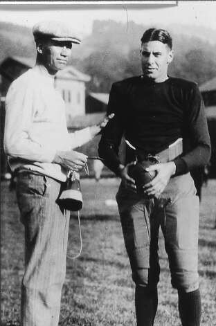"Coach Andy Smith, left, and college football hall of famer Edwin ""Babe'' Horrell. Horrell was the center on the 1922-24 teams that went 26-0-3. Photo: Courtesy Cal Athletics"