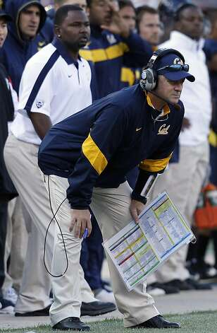 California head coach Jeff Tedford watches from the sidelines during the third quarter of an NCAA college football against Fresno State game in San Francisco, Saturday, Sept. 3, 2011. (AP Photo/Jeff Chiu) Photo: Jeff Chiu, AP