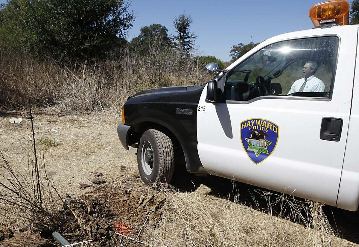 Hayward Police Department investigator looks over the crime area in Sunol, Calif., Tuesday, Sept. 20, 2011. Officials have determined that badly decomposed human remains discovered over the weekend are those of Michelle Le, the missing nursing student who disappeared in May while taking a school break. Giselle Esteban has been charged with the murder. (AP Photo/Paul Sakuma)