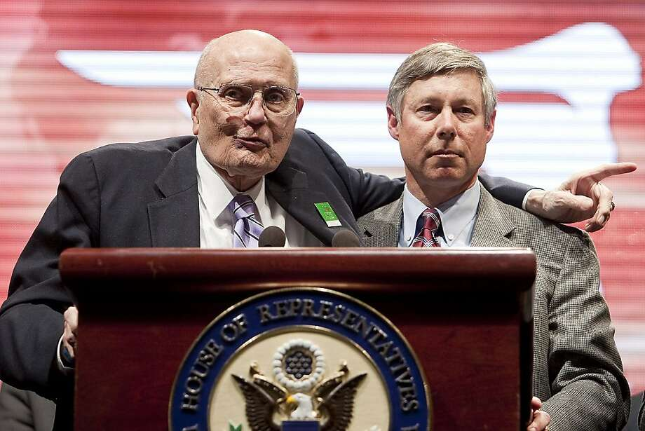 Rep. Fred Upton, R-Mich. (right) may find that his assignment to the congressional debt-cutting supercommittee will complicate his reelection prospects. Upton is seen here with his Michigan Democratic colleague, Rep. John Dingell. Illustrates UPTON (category w), by Heidi Przybyla (c) 2011, Bloomberg News. Moved Tuesday, Sept. 6, 2011. (MUST CREDIT: Bloomberg News photo by Daniel Acker.) Photo: Acker, BLOOMBERG