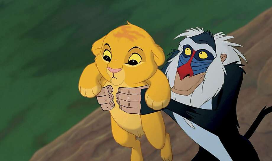 "Simba and Rafiki in the ""The Lion King"" in an undated handout photo. On Friday, Disney will be releasing a new 3-D version of ""The Lion King"" in theaters and 19 days later, a new DVD and Blu-ray set in stores. (Walt Disney Pictures via The New York Times) -- NO SALES; FOR EDITORIAL USE ONLY WITH STORY SLUGGED DISNEY LION KING. ALL OTHER USE PROHIBITED. --  Ran on: 09-19-2011 The original &quo;Lion King&quo; made more than $40 million in 1994.  Ran on: 10-30-2011 Simba (left) and Rafiki in &quo;The Lion King,&quo; which is coming out in a new 3-D version. Robert Guillaume, right, who provides the voice for Rafiki, attended an event to celebrate the release in Los Angeles. Photo: Walt Disney Pictures, The New York Times"
