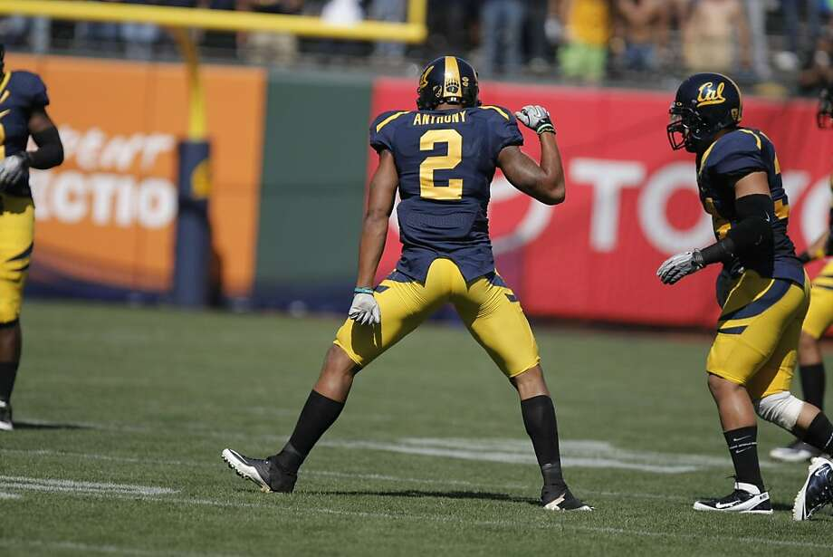 The University of California Golden Bears cornerback Marc Anthony celebrates a tackle in the first quarter against the Presbyterian Blue Hose, at AT&T Park in San Francisco, Calif., Saturday, Sept. 17, 2011. Photo: Dylan Entelis, The Chronicle