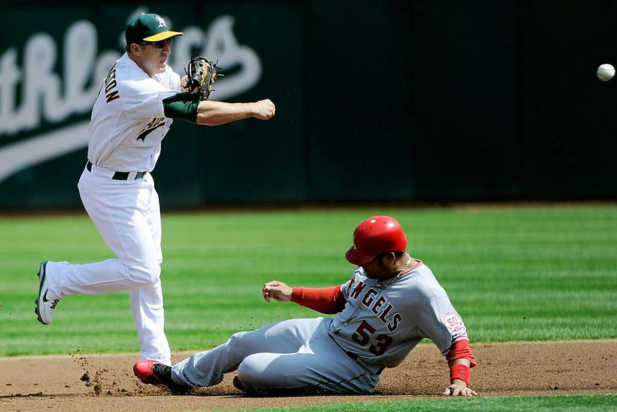 OAKLAND, CA - SEPTEMBER 14: Cliff Pennington #2 of the Oakland Athletics gets his throw off to complete the double play avoiding the slide of Bobby Abreu #53 of the Los Angeles Angels of Anaheim in the first inning during an MLB baseball game at O.co Coliseum on September 14, 2011 in Oakland, California. (Photo by Thearon W. Henderson/Getty Images)