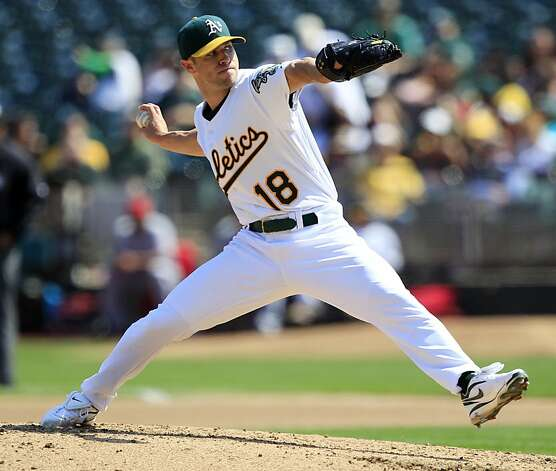 Oakland Athletics starting pitcher Rich Harden throws to the Los Angeles Angels during the fourth inning of a baseball game in Oakland, Calif., Wednesday, Sept. 14, 2011. (AP Photo/Marcio Jose Sanchez) Photo: Marcio Jose Sanchez, AP