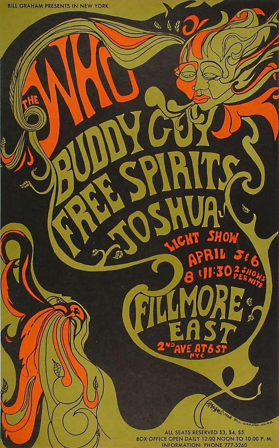 A poster from Art of the Fillmore, a collection of 230 vintage concert posters from the '60s, '70s, and '80s, commissioned by concert promoter Bill Graham. Photo: Wolfgang's Vault