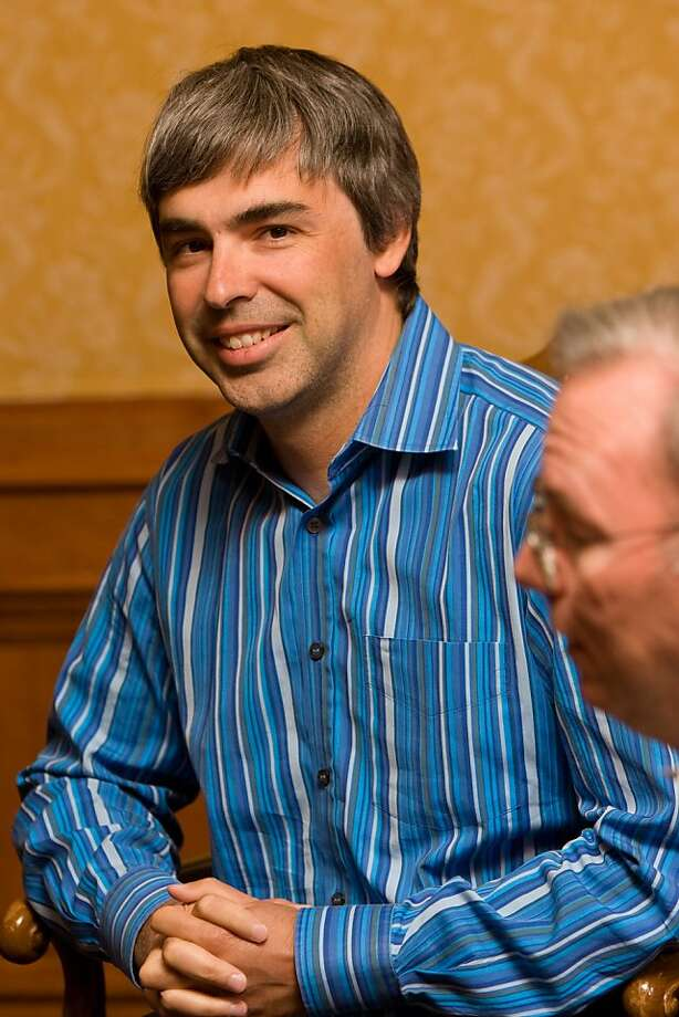 Larry Page, Google Inc.'s co-founder and products president, left, and Eric Schmidt, chairman and chief executive officer of Google Inc., speak with reporters during the Allen & Co. Media and Technology Conference in Sun Valley, Idaho, U.S., on Thursday, July 9, 2009. The conference runs until Saturday, July 11. Photographer: Matthew Staver/Bloomberg News 	  Filename: GOOGLE SCHMIDT BING Category: F Supplemental Category: Instructions: Created: July 9, 2009 Byline: MATTHEW STAVER Caption Writer: SE 	  City: SUN VALLEY Country: USA Reference: Credit: BLOOMBERG NEWS Source: Image type: JPEG Image ID: 547144 	 Larry Page, Google Inc.'s co-founder and products president, left, and Eric Schmidt, chairman and chief executive officer of Google Inc., speak with reporters during the Allen & Co. Media and Technology Conference in Sun Valley, Idaho, U.S., on Thursday, July 9, 2009. The conference runs until Saturday, July 11. Photographer: Matthew Staver/Bloomberg News   Ran on: 01-23-2011 Larry Page's technical skills are undeniable, but he has often come off as shy and socially awkward. Photo: Matthew Staver, Bloomberg News