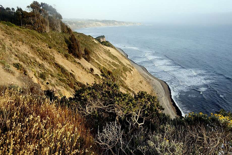 A view of the Pacific Ocean and Palomarin Beach from the southernmost end of the Coast Trail, in Pt. Reyes National Seashore, in Pt. Reyes, Calif. on Sunday, May 4, 2008. Photo by Katy Raddatz / San Francisco Chronicle Ran on: 05-08-2008 The view of the Pacific and Palomarin Beach can be breathtaking once hikers near the southernmost trailhead of the Coastal Trail, especially after spring rains. Photo: Katy Raddatz, SFC