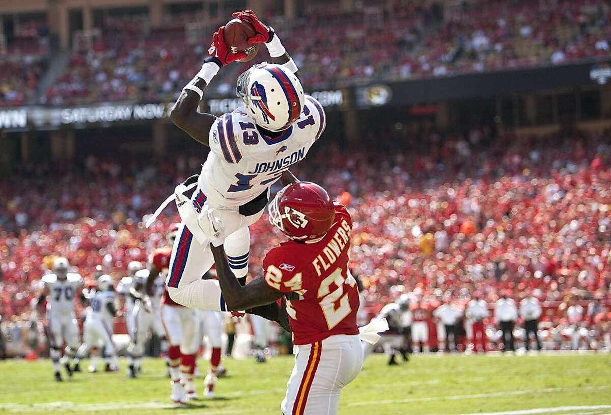 Buffalo Bills Stevie Johnson hauls in a 27-yard touchdown catch in the first quarter over Kansas City Chiefs' Brandon Flowers. The Bills defeated the Chiefs, 41-7, at Arrowhead Stadium in Kansas City, Missouri, on Sunday, September 11, 2011. (Mike Ransdell/Kansas City Star/MCT)