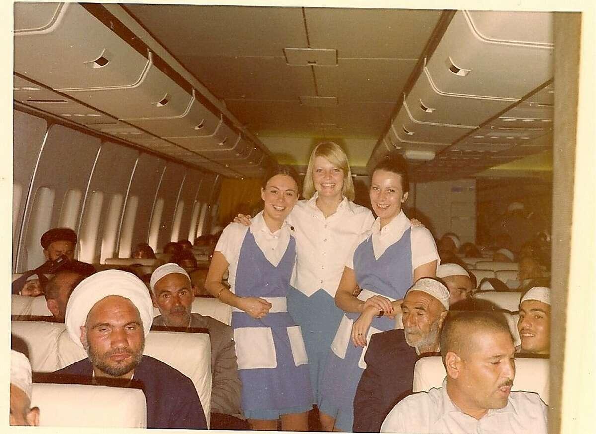 Nancy Hult Ganis, center, in Tehran, Iran 1974 aboard a PanAm 747.