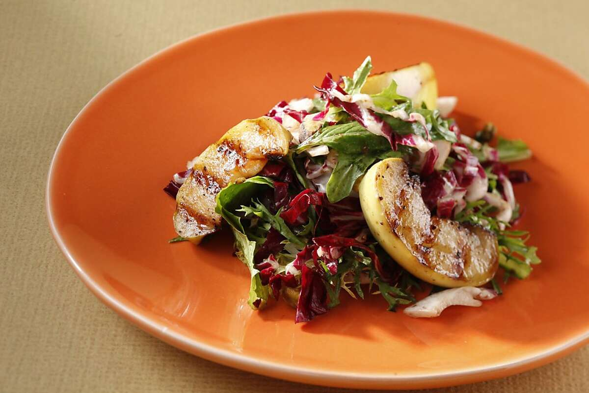 Grilled apple salad with fig balsamic vinaigrette as seen in San Francisco, California, on Wednesday, August 31, 2011. Food styled by Sophie Brickman.
