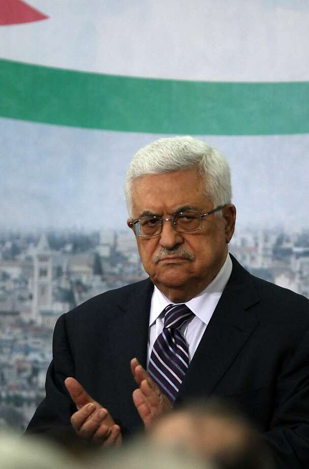 Palestinian Authority President Mahmud Abbas gestures after he delivered a speech in which he said Palestinians are going to Security Council with UN membership bid, on September 16, 2011 in the West Bank city of Ramallah.  AFP PHOTO/ABBAS MOMANI (Photo credit should read ABBAS MOMANI/AFP/Getty Images) Photo: Abbas Momani, AFP/Getty Images