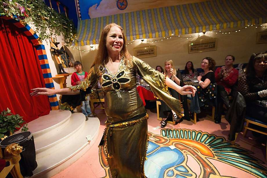 Sausan Molthen, chef/owner of Al Masri, performs a belly dance routine during her birthday party celebration at Al Masri in the Richmond District on August 21, 2011 in San Francisco, Calif. Photo: David Paul Morris, Special To The Chronicle
