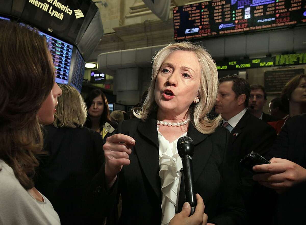 """U.S. Secretary of State Hillary Rodham Clinton is interviewed on the floor of the New York Stock Exchange Friday, Sept. 9, 2011. The United States """"cannot afford to live in fear, sacrifice our values, or pull back from the world"""" over terrorism concerns, Clinton said in remarks prepared for a New York speech on Friday. (AP Photo/Richard Drew)"""