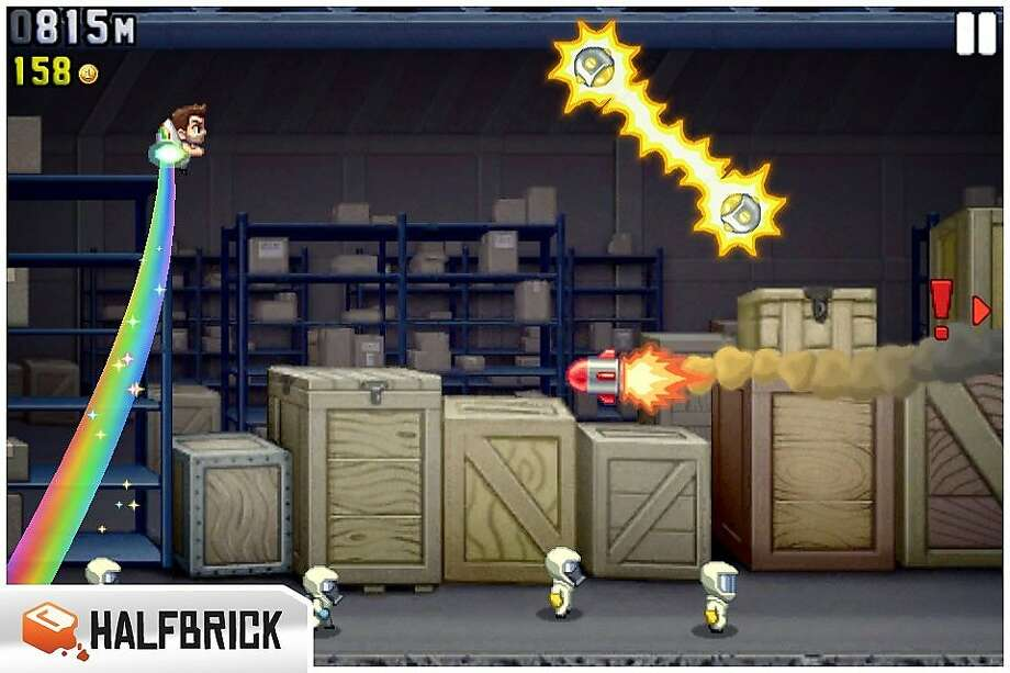 "From ""Jetpack Joyride.""   Ran on: 09-15-2011 &quo;Jetpack Joyride,&quo; another addictive game for Apple devices from Halfbrick, goes through the same basic scenario each time, but players have plenty of chances to pick up power-ups and coins to help hero Barry Steakfries do even better. Photo: Halfbrick"