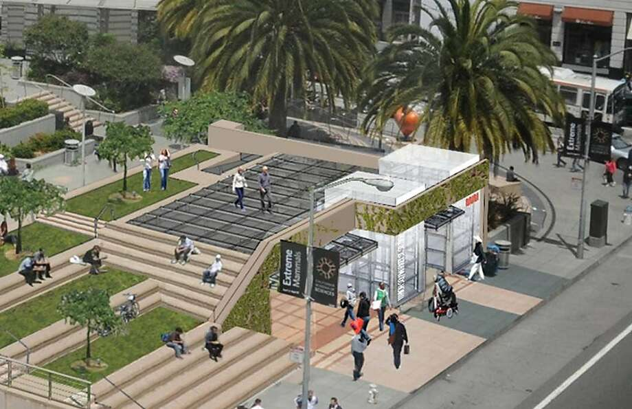 The design for the Central Subway station at Union Square would add a new structure near the southeast corner of the plaza. The design aim is to fold into the setting as much as possible, and create new seating on the sides and the roof.   Ran on: 09-12-2011 The design for the new subway station at Union Square is intended to fold it into the setting as much as possible. Photo: Courtesy MTA