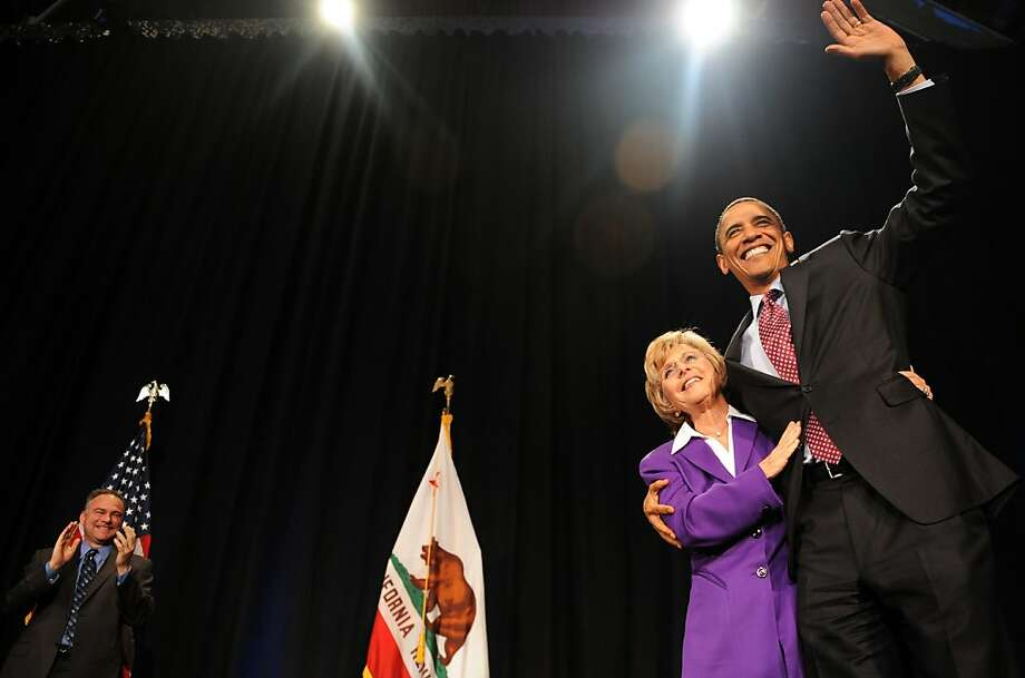 US President Barack Obama greets Senator Barbara Boxer as he arrives to speak at a fundraising reception at the California Science Center in Los Angeles, California, on April 19, 2010. AFP PHOTO/Jewel SAMAD (Photo credit should read JEWEL SAMAD/AFP/Getty Images) Photo: Jewel Samad, AFP/Getty Images