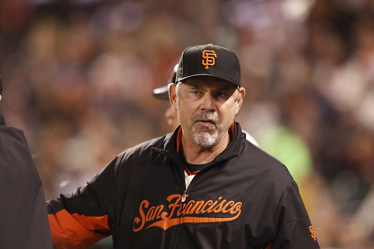 San Francisco Giants manager Bruce Bochy looks down the third base line in the 7th inning of the Giants game v.s the San Diego Padres, at AT&T Park in San Francisco, Calif. on Tuesday, Sept. 13, 2011.